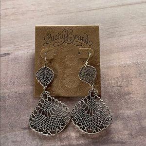 Lucky Brand Filigree Double Drop Earrings Silver